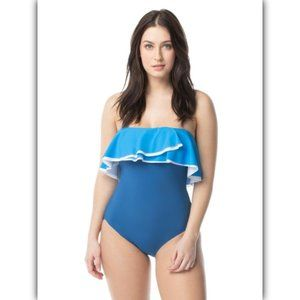 Coco Reef Contours Agate Ruffle Bandeau One-Piece
